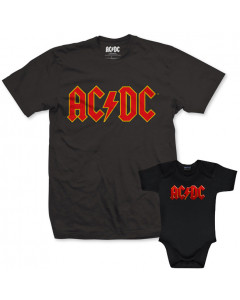 Duo Rockset AC/DC Vater-T-shirt & AC/DC Baby Body Color Logo